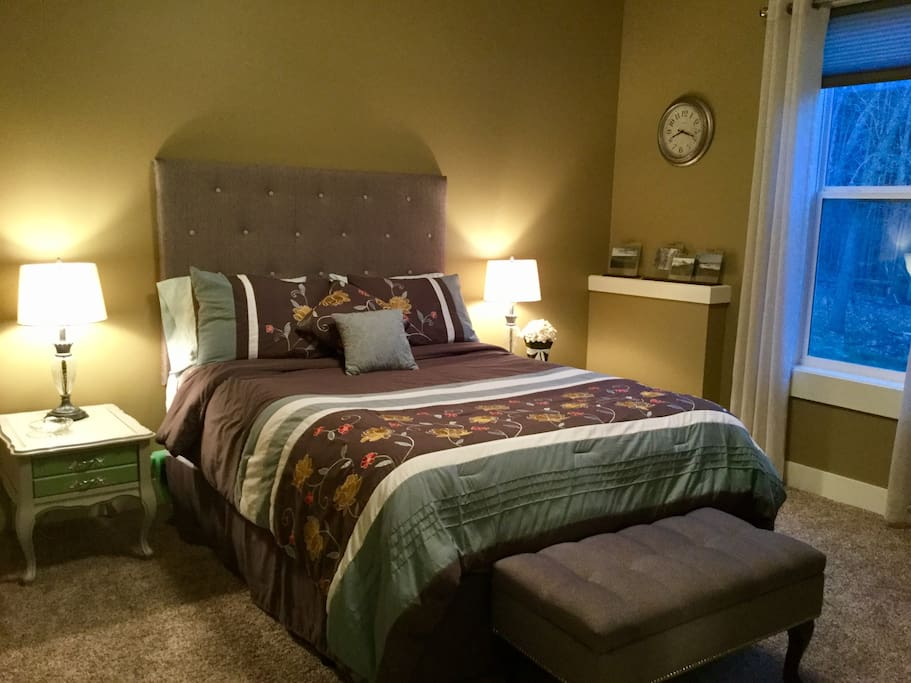 New Serta queen size bed for a great night's sleep. 6ft window lets in a ton of natural light.