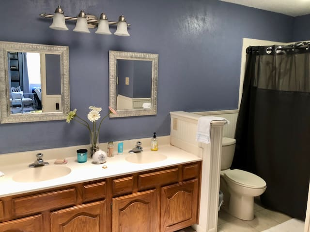 Full bathroom off of bedroom/loft