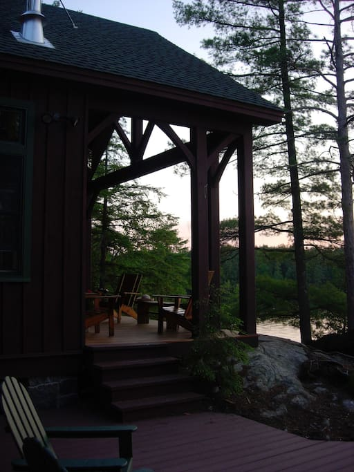 front porch overlooks the lake