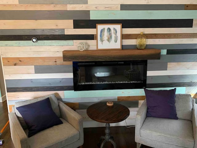 Living room accent wall and electric fireplace