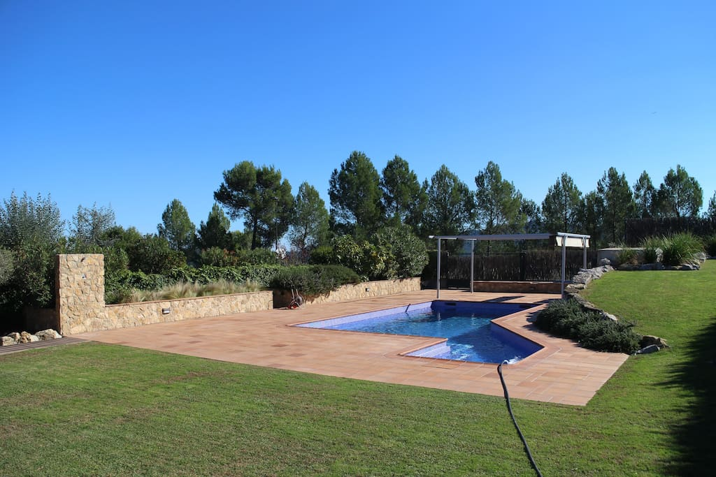 Poolview from the house which has recently been retiled.