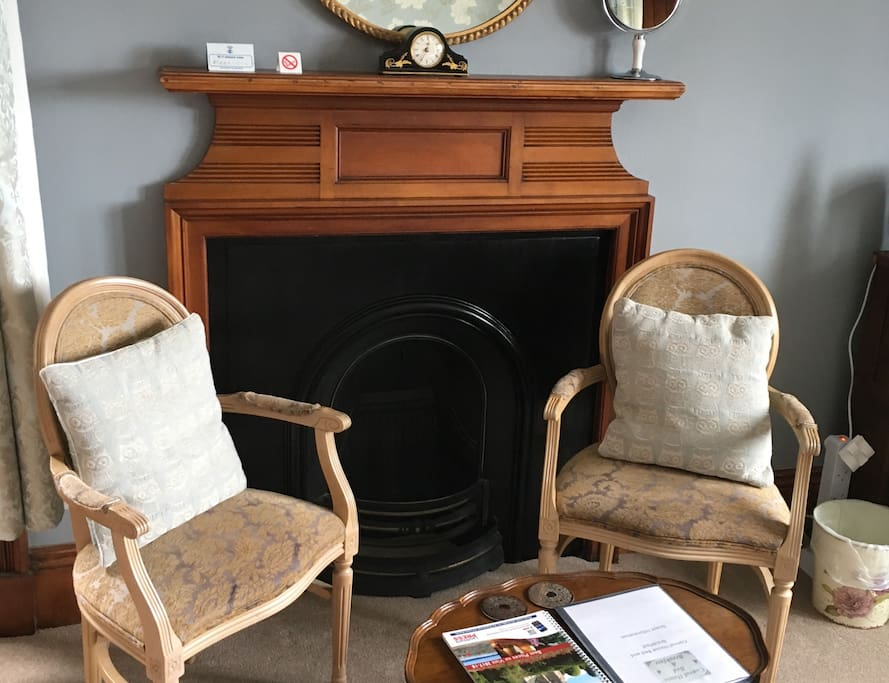 Victorian fireplace and seating area