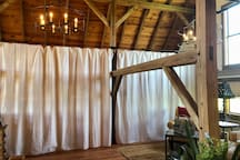Privatized curtains for the two king bed areas