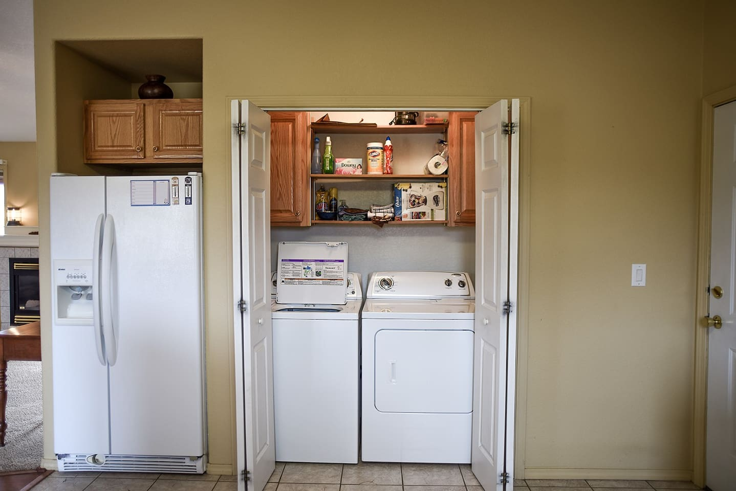 Laundry closet is in the kitchen