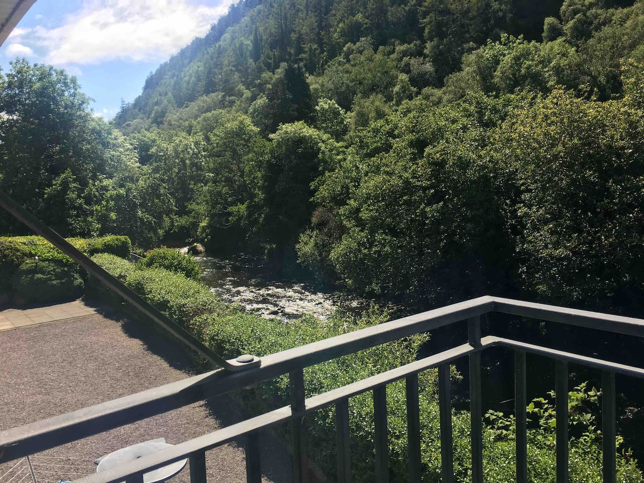 View from the balcony of river behy with lovely tree lined slopes. The sound of the river is both refreshing and relaxing.
