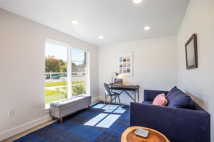 Third bedroom/office with Pottery Barn memory foam sleeper sofa.