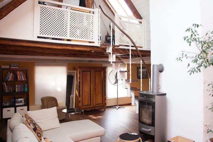 Helle & geräumige Galeriewohng 100 m² mit Terasse - Schärding Innere Stadt - Apartamento