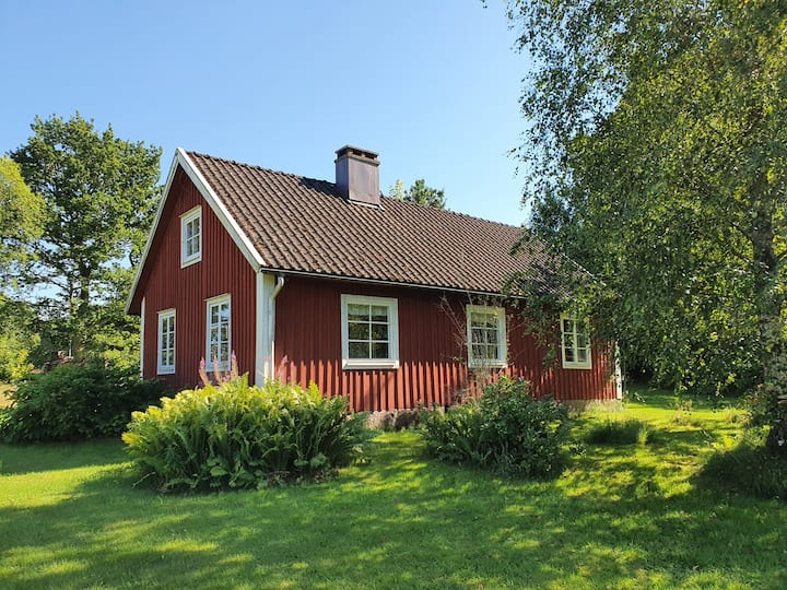 Traditional Swedish cottage near lake Bolmen