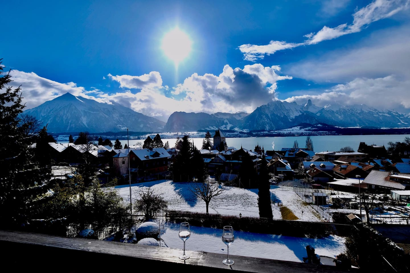 """The Front View from the House. ✍️ """"The unobstructed view of Lake Thun is beautiful. / Eve Marie & Oliver with Aaron and Jasper."""""""
