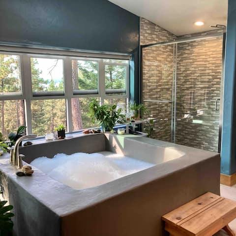 Nature House: Baignoire pour 2 + foyer + terrasse = ahhh!