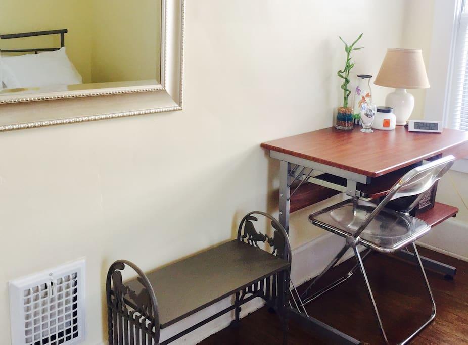 A desk in your bedroom.