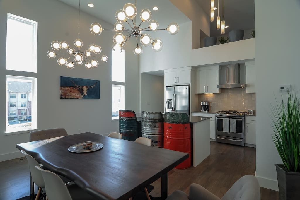 Spacious kitchen and dining area.