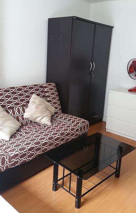 Bed sofa and wardrobe