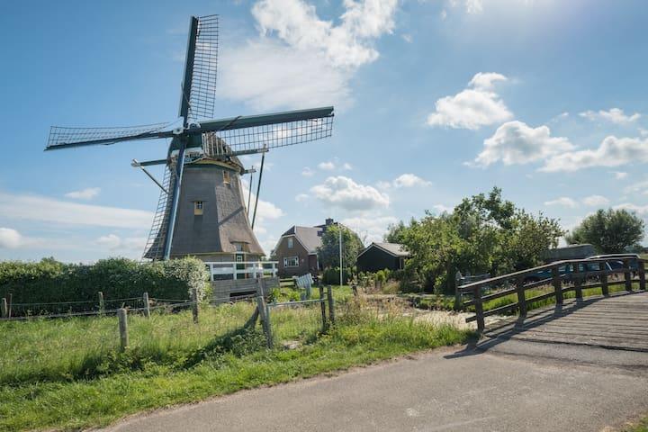 Vrijstaand chalet op unieke locatie naast molen