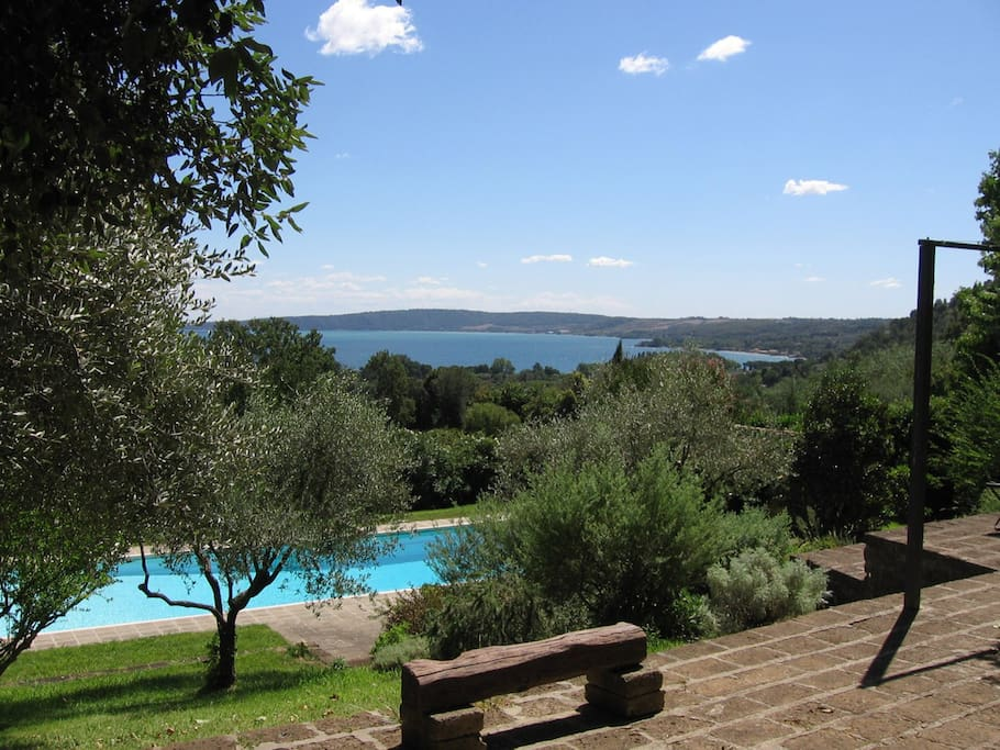 Swimming Pool and view of Bracciano's Lake