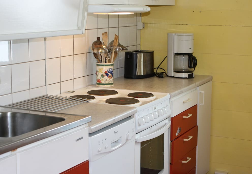 Kitchen with electric stove, fridge, dish washer and microwave.
