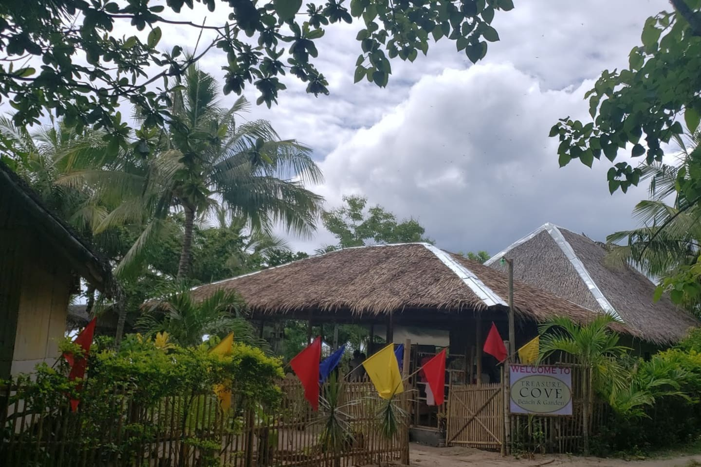 Your entrance to the resort. Welcome to Treasure Cove. A traditional Nipa and bamboo lodge offers a full service restaurant. Request a freshly caught seafood and very sweet mangoe during your stay.