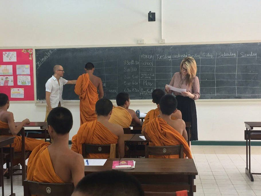You can teach English at nearby Monk School