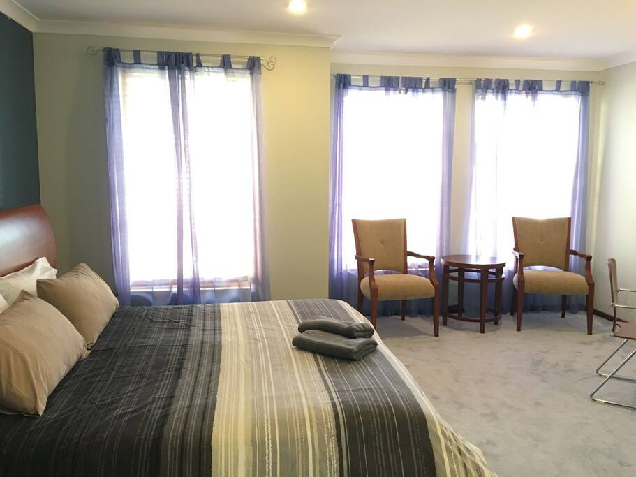 Master bedroom with private bath, toilet and walk in robe