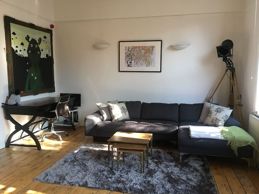 Comfortable Living Room & Workspace in the afternoon sun