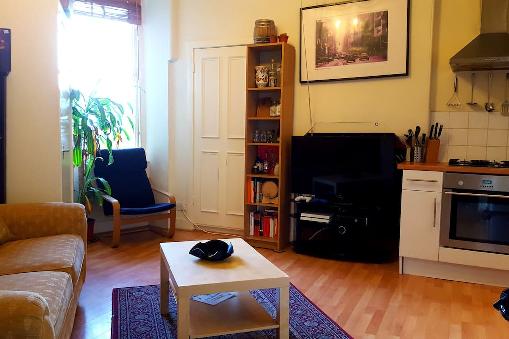 Bright Open Plan Kitchen and Living Room with Coffee and Dining Room Table (Out of Shot)