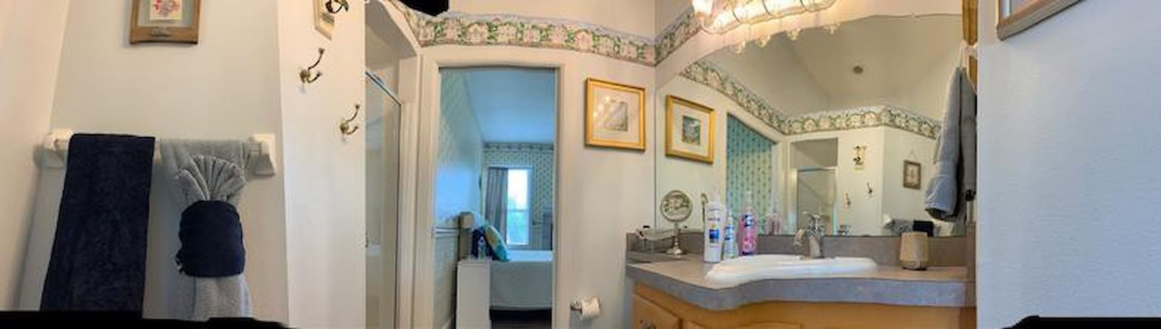 Click on the pic (panoramic) Bathroom with toilet, walk in shower