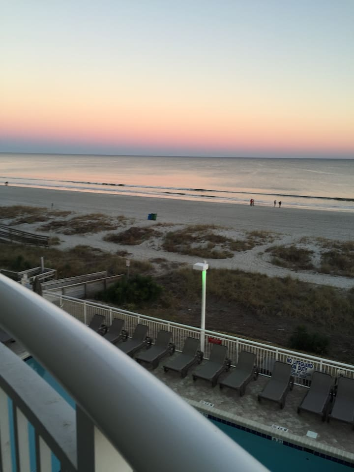 Gorgeous view from your oceanfront deck of the Atlantic Ocean, in the heart of Myrtle Beach.