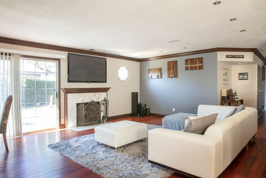 Free WiFi Available , cable tv, surround sound , 62 inch plasma , air conditioning throughout entire house and fireplace