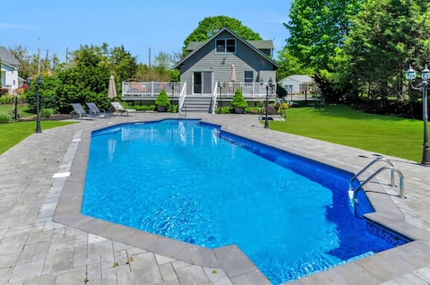 Greenport Village home w/ POOL! Steps to Beach!