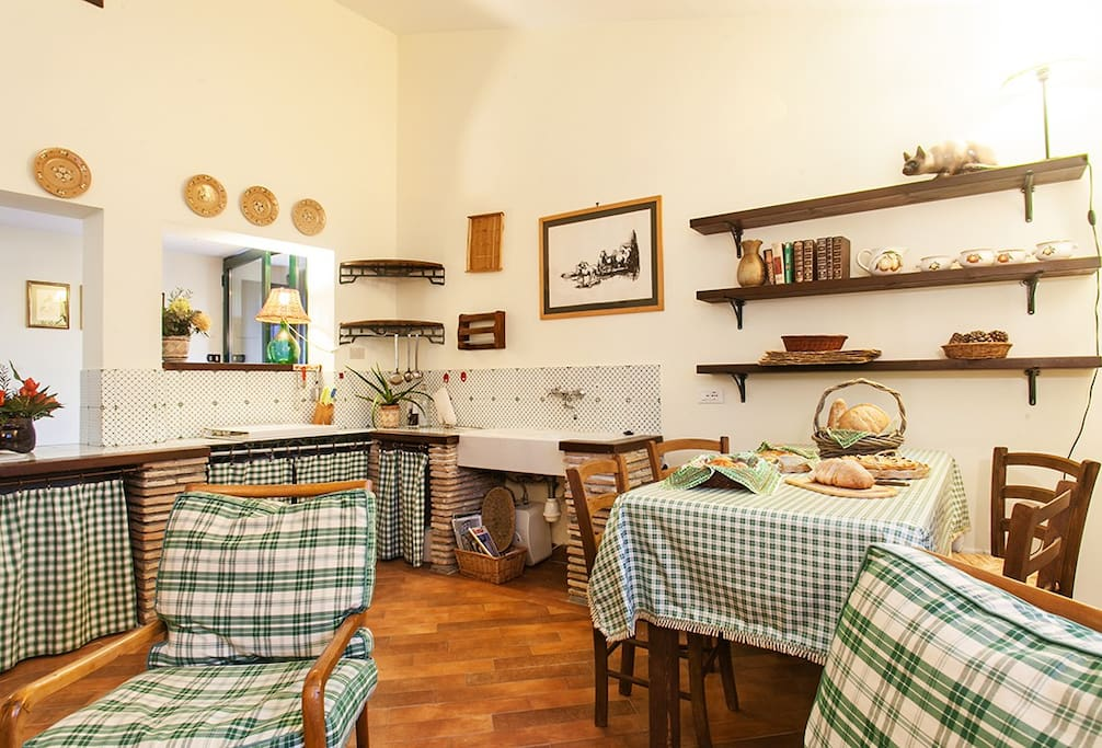 Cucina e zona giorno con camino / Kitchen and living area with