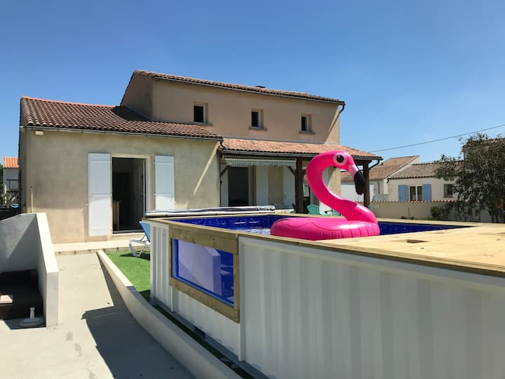 🏖 Cap Mer 17! Villa 15 pers  piscine proche mer