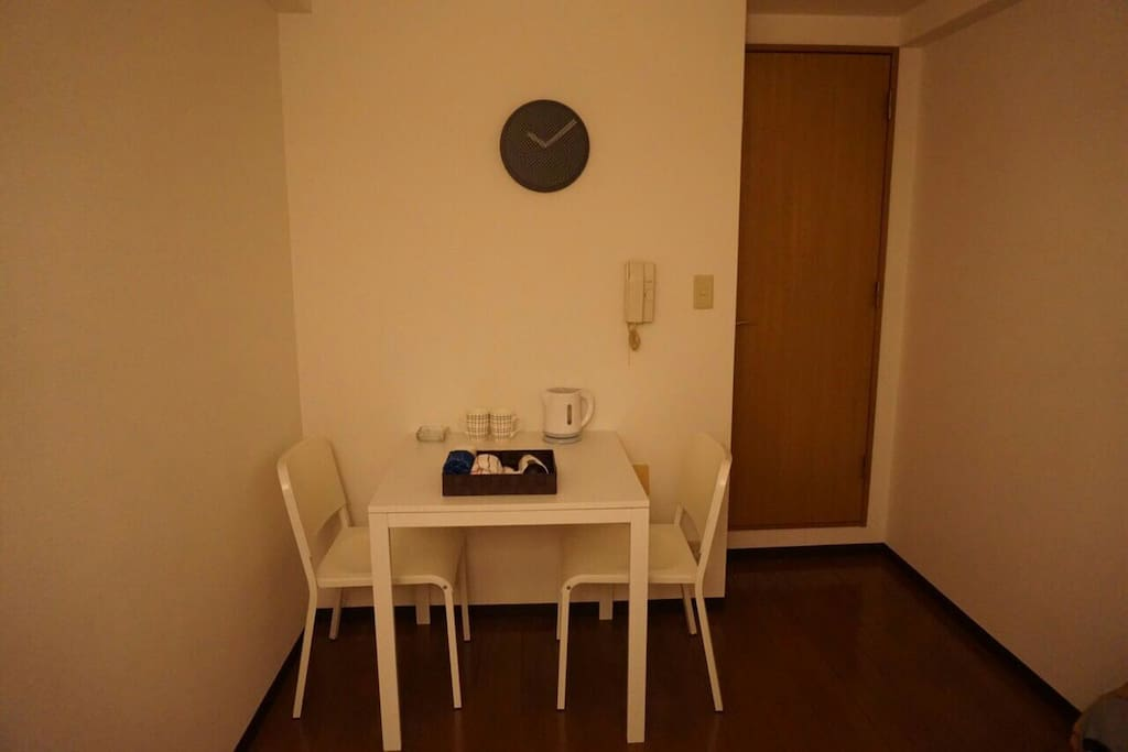 small tea table. you can sit down and have a tea with hot pot.