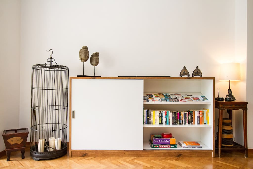 Cabinet with TV, Stereo, books and magazines