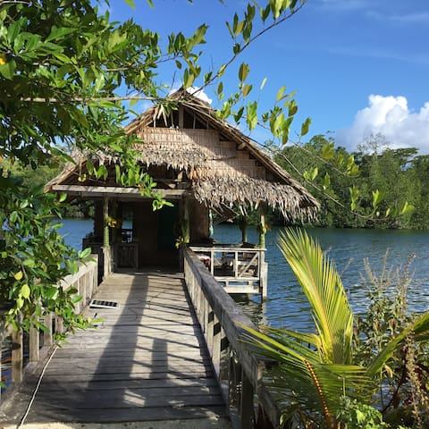 The bungalow - lounging over the waters of Marovoo Lagoon