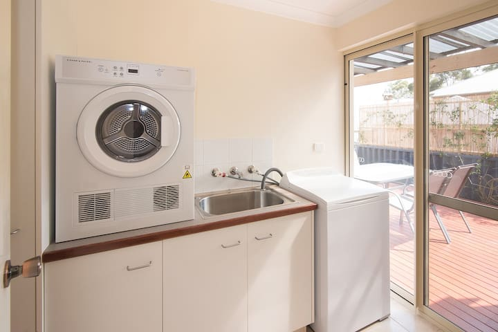 All the comforts of home here, including laundry facilities.
