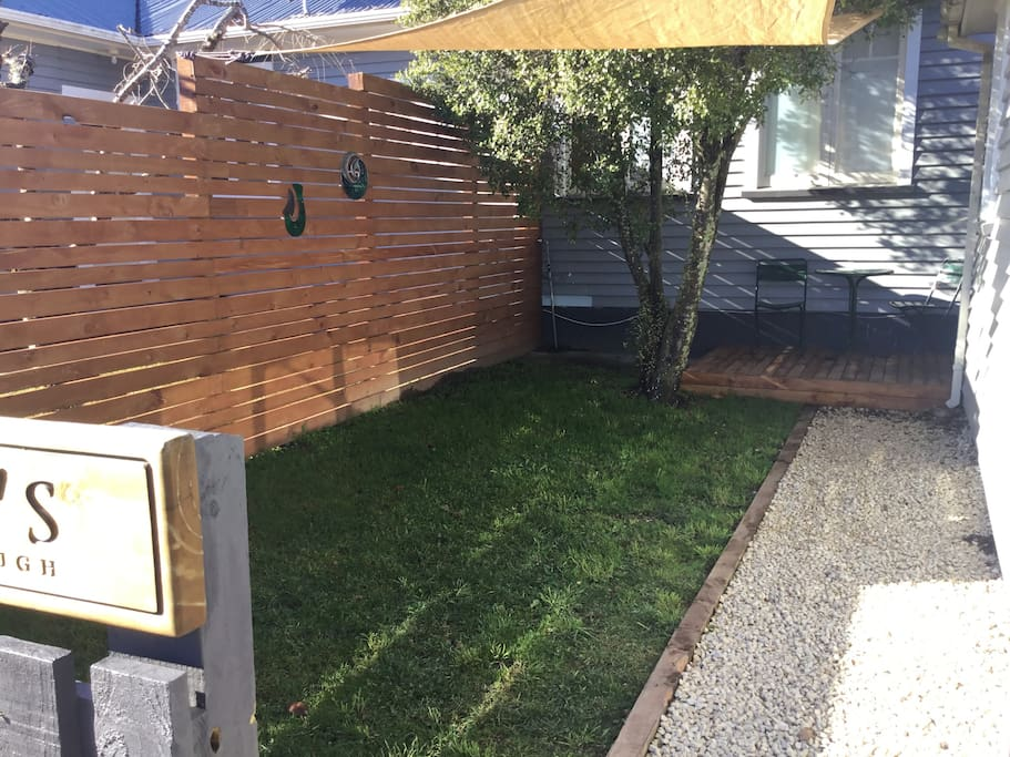 Private courtyard fully fenced for dogs.