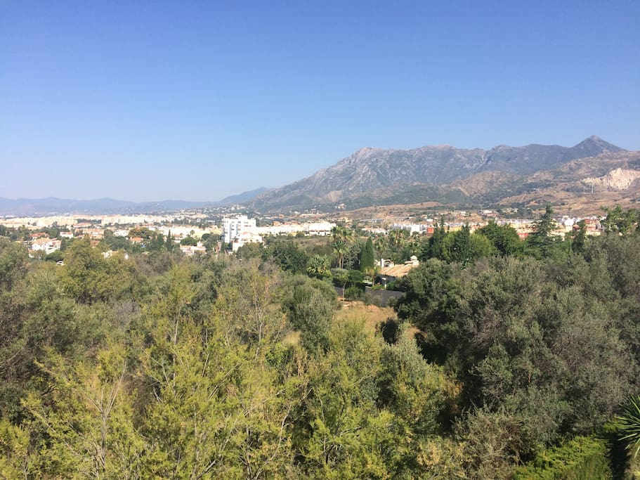 Views from the penthouse towards the coast and Mabella Old Town and Puerto Banus