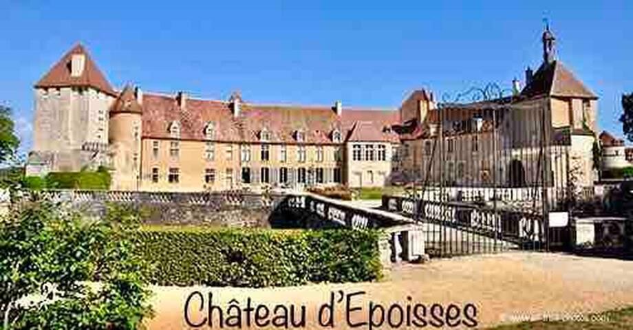 A 1 km du gîte, le château d'Epoisses et son très beau parc ouverts au public. Une double enceinte de fortifications enserre des maisons du XVe siècle, une église, un colombier de 3 000 cases et de grosses tours à visiter