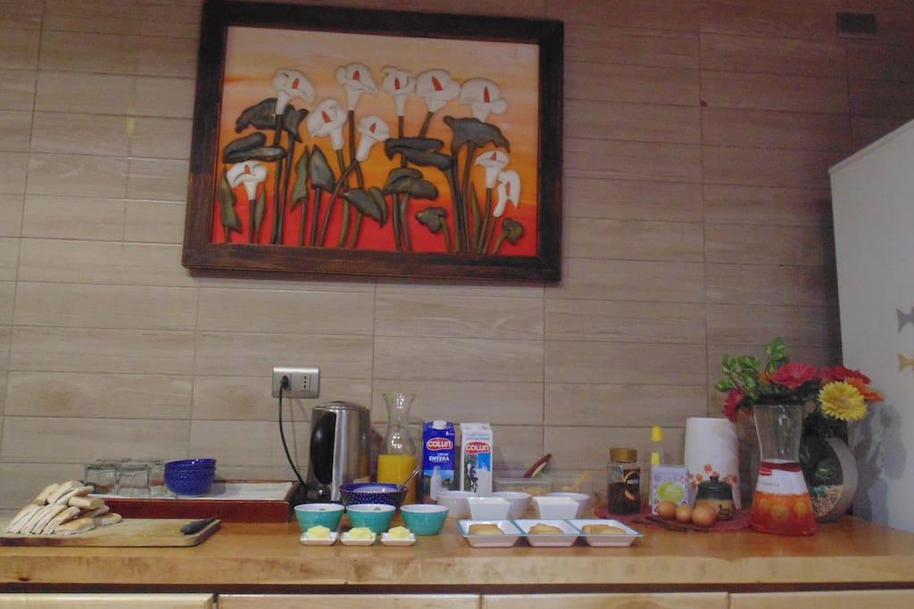 Cocina compartida para preparado de desayuno