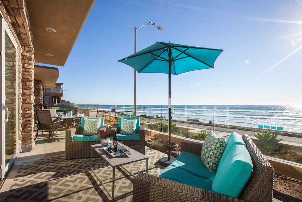 Enjoy the view from your private beach front patio.