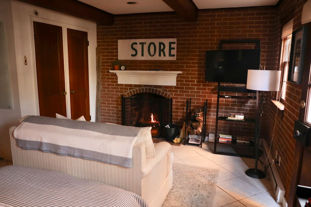 Enjoy the wood burning fireplace and a Netflix movie from the sofa.