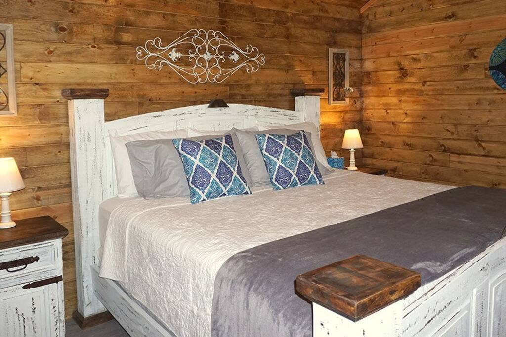 Comfortable king sized bed in private bedroom