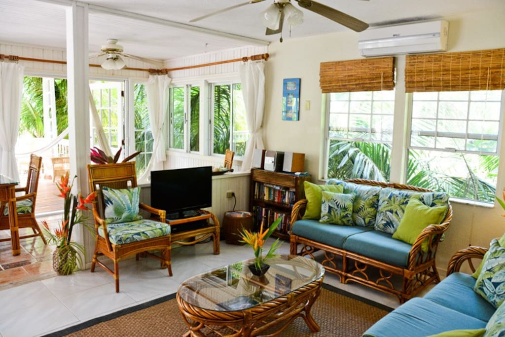 Bright and spacious living room with hammocks
