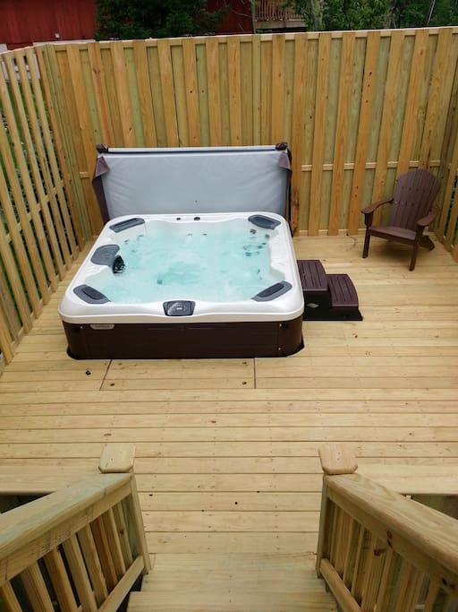 Luxury, therapeutic private hot tub on split level deck