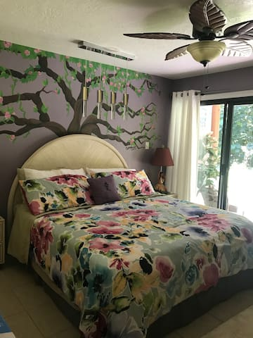 Master bedroom has a plush King Size Bed and specialty lighting. Also 2 luggage racks and a mini ironing board & iron in the closet.