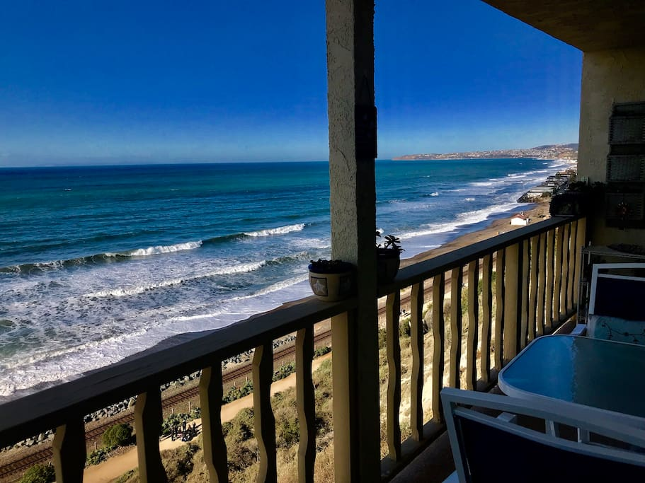 Watch dolphins while having breakfast on the patio