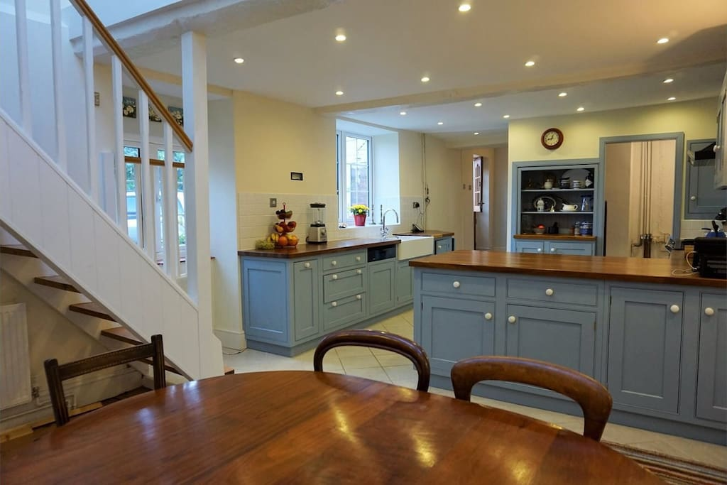 Kitchen with 7 ring gas stove.