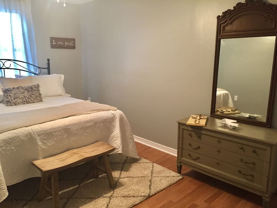 Dresser for all your belongings and mirror in bed room
