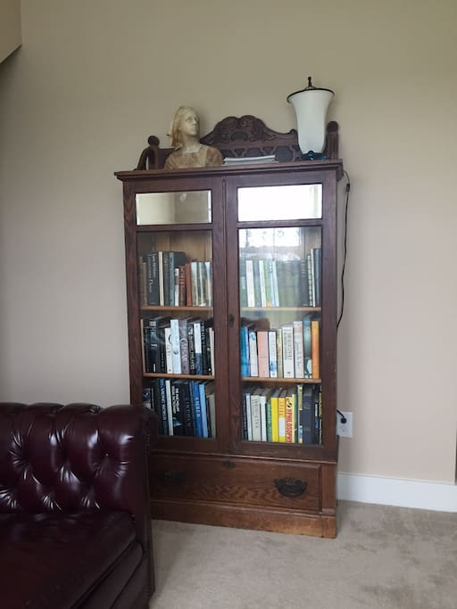 Bookcase with reading materials is in the room