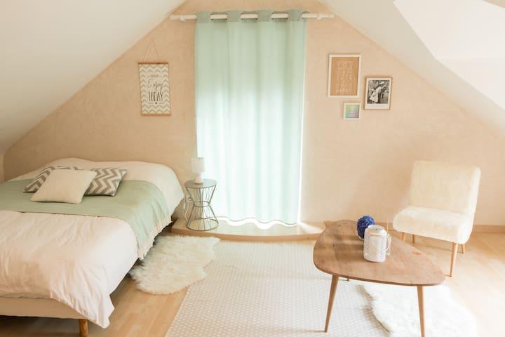 Chambre tout confort, salle de bain privée à Nozay